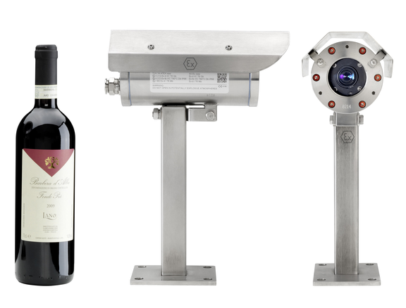 Blast Proof Camera ExCam IPM3014: Size comparison with a bottle of wine